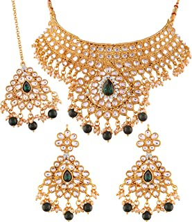Gold Plated Traditional Kundan Choker Necklace Set with Earrings & Maang Tikka for Women (K7074G)