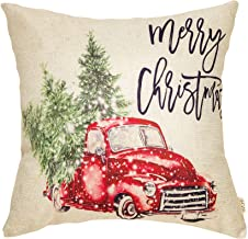 Fjfz Merry Christmas Decor Retro Red Truck with Trees Snowflakes Winter Holiday Sign..