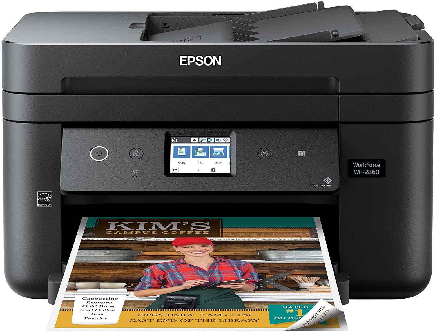 Epson Workforce WF-2860 All-in-One Wireless Color Printer with Scanner, Copier, Fax, Ethernet, Wi-Fi Direct and NFC, Amazon Dash Replenishment Enabled (Renewed)