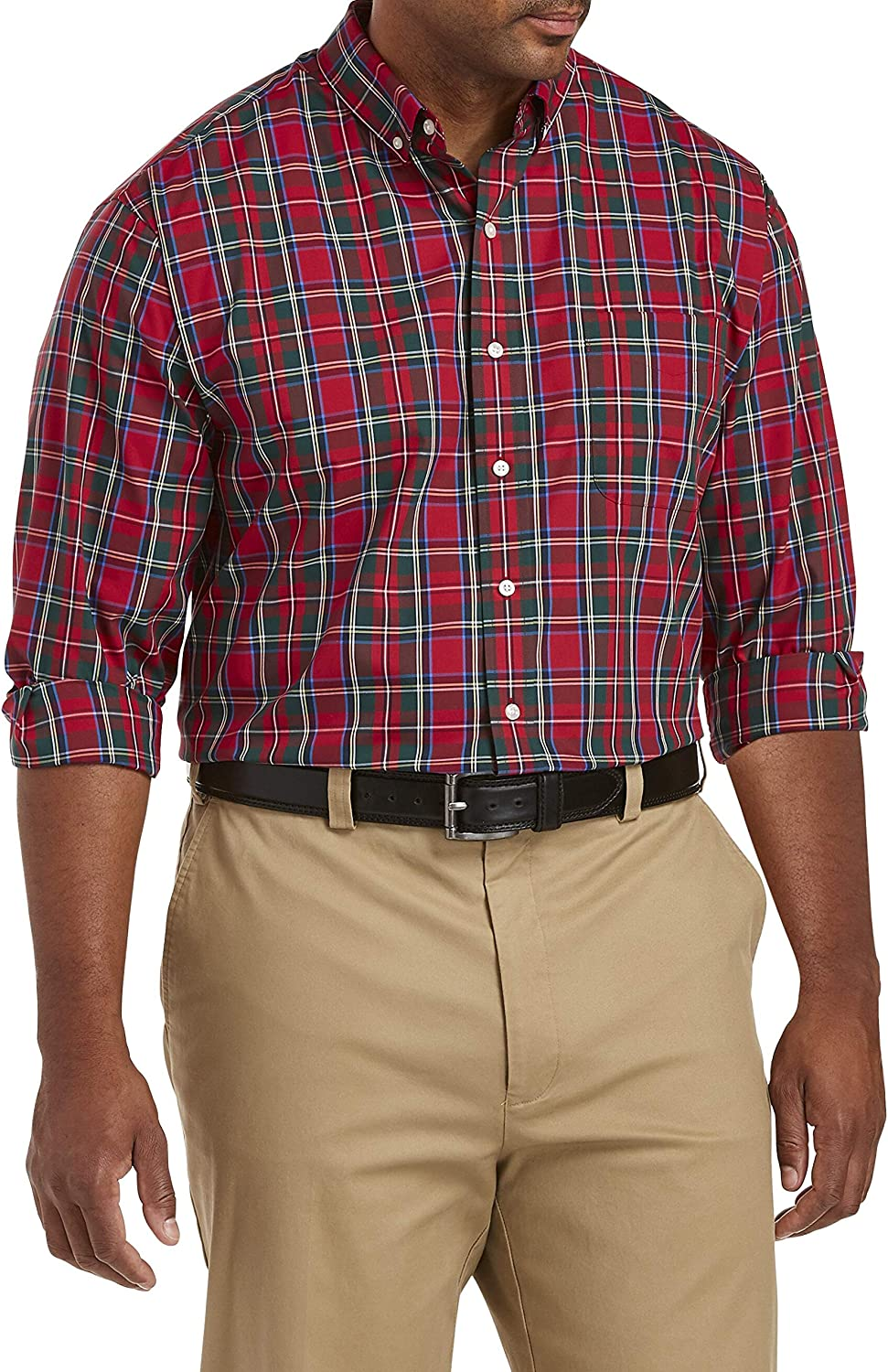 Oak Hill by DXL Big and Tall Large Plaid Jester Holiday Sport Shirt, Jester Red