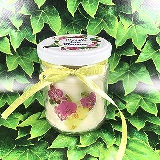 Fiori per la mamma candela personalizzata in cera di soia e olio essenziale con stoppino in legno idea regalo festa della ...