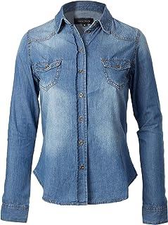 Instar Mode Women's Basic Classic Roll up Sleeve Button Down Chambray Denim Shirt (S-3XL)
