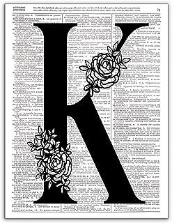 K - Monogram Wall Decor, Letter Wall Art, Dictionary Page Art Photo Print, 8x10, UNFRAMED
