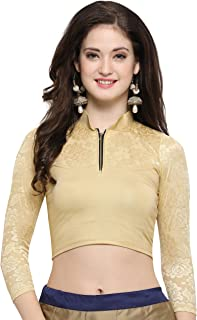 Janasya Indian Tunic Tops Readymade Cotton Lycra Saree Blouse for Women (BL034-150GOLD)