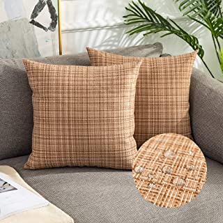 Kevin Textile Pack of 2 Decorative Outdoor Waterproof Pillow Covers Square Garden Cushion Sham Throw Pillowcase Shell for ...