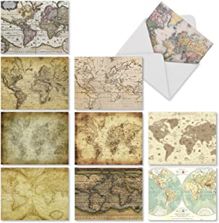 World Map Note Cards (Box of 10) - Assorted Map Quests Blank Card with Envelope - Beautiful Globe Greeting Cards and Geography Stationery for All Occasions - Notecards 4 x 5.12 inch M3076sl