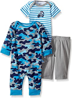 GERBER Baby Boys' 3-Piece Coverall, Bodysuit and Pant Set