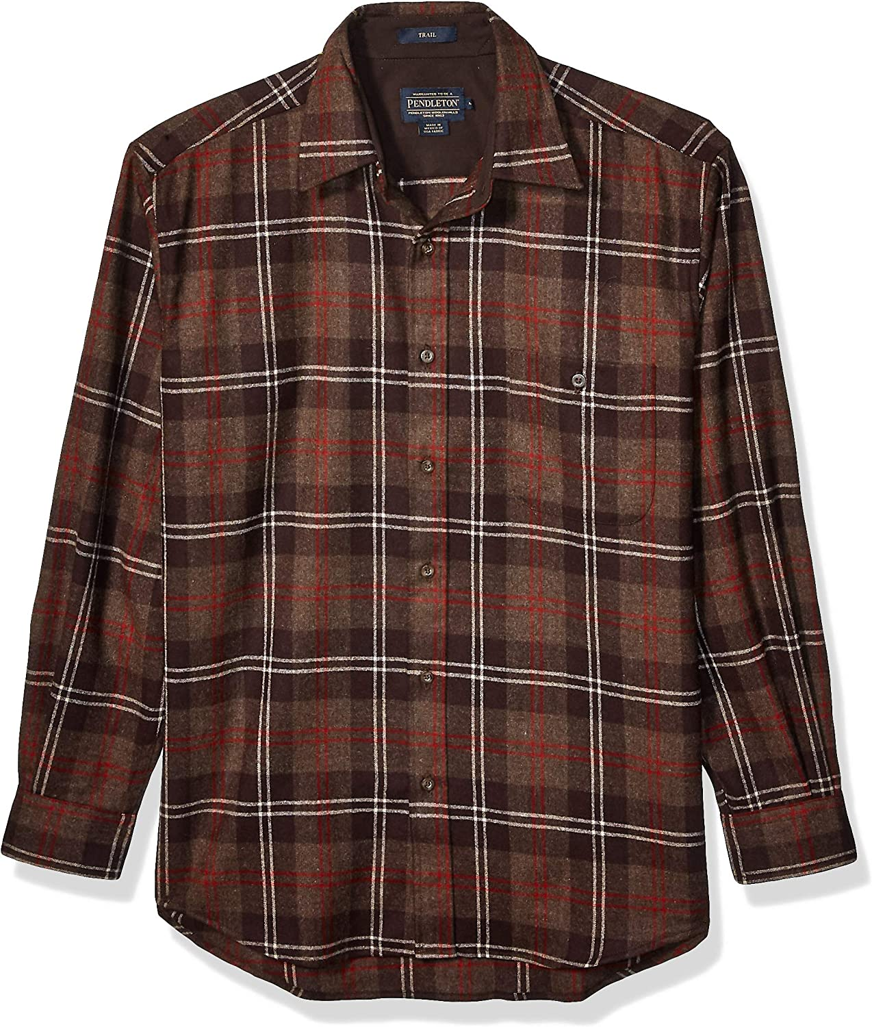 OFFer Pendleton Men's Long Sleeve Max 41% OFF Classic Wool Shirt Fit Trail
