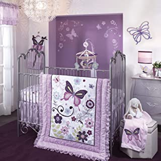 Lambs & Ivy Butterfly Lane Purple/White 6-Piece Nursery Baby Crib Bedding Set