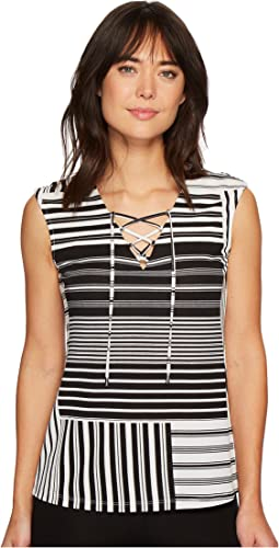 Sleeveless Printed Lace-Up Top