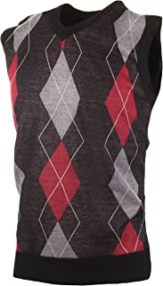 Enimay Mens Argyle/Plain V-Neck Golf Sweater Vest (Many Colors Available)