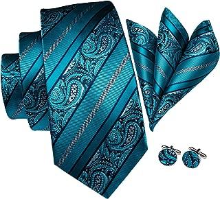 Blue Tie Paisley Plaid Check Necktie Pocket Square Cufflinks Gift Box Set
