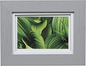 Gallery Solutions Photo 5x7 Flat Grey Tabletop or Wall Frame with Double White Mat for 4x6 Picture, 5