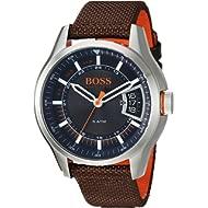 HUGO BOSS Men's Hong Kong Sport Stainless Steel Quartz Watch with Nylon Strap, Brown, 21 (Model:...