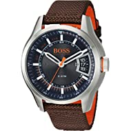 HUGO BOSS Men's Hong Kong Sport Stainless Steel Quartz Watch with Nylon Strap, Brown, 21 (Model:...