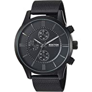 Kenneth Cole REACTION Male Analog-Quartz Watch with Black Strap, Stainless Steel, 22 (Model:...