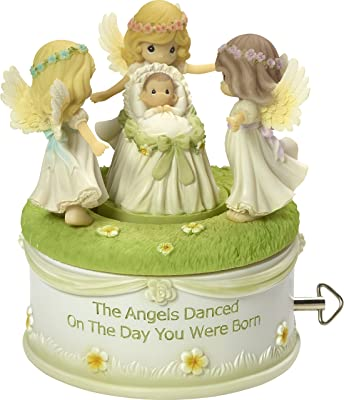 Precious Moments Angels Danced on The Day You Were Born Resin Rotating Musical Box Home Decor Collectible Figurine 173435