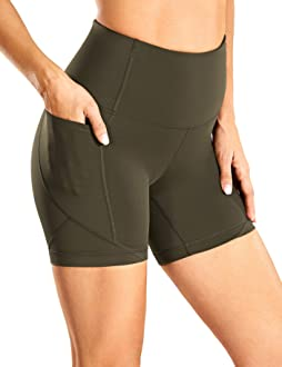 CRZ YOGA High Waisted Gym Biker Workout Shorts for Women Side Pockets Luxury Naked Feeling 6 inches