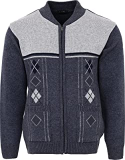 Mens Knitted Cardigan Zip Front Chunky Cable Knit with Front Pockets