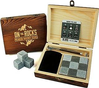 On The Rocks Whiskey Steine Geschenk-Set | 9 Natürliche Specksteine und Basalt Kühlsteine | Stilvolle Handgemachte Holzbox | Zangen und Samtbeutel | Wiederverwendbare Eiswürfel Whisky Steine