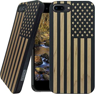 Wood iPhone Case - iPhone 8 PLUS - WDPKR Wooden Phone Cover - UNIQUE High Contrast Black Painted Maple Wood Bumper Accessory for Apple iPhone 8 PLUS (American Flag)