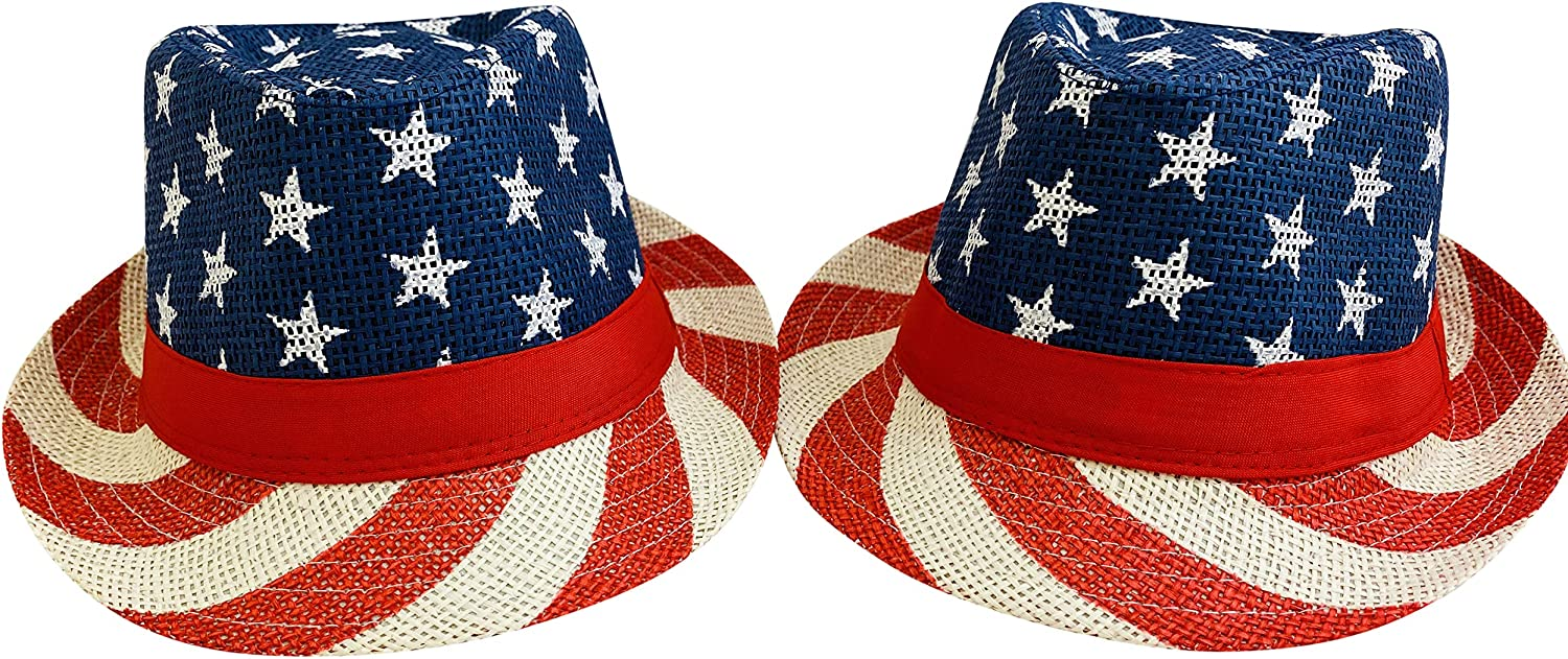 Westmon Works USA Patriotic Fedora American Flag Staw Hat 4th of July Cap Wear One Size for Men or Women, Set of 2 Red