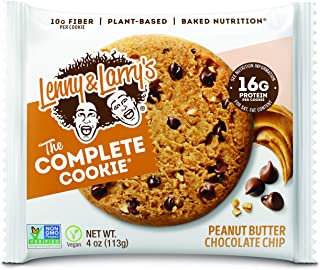 Lenny & Larry's The Complete Cookie, Peanut Butter Chocolate Chip, 4 Ounce Cookies - 12 Count, Soft Baked, Vegan and Non GMO Protein Cookies