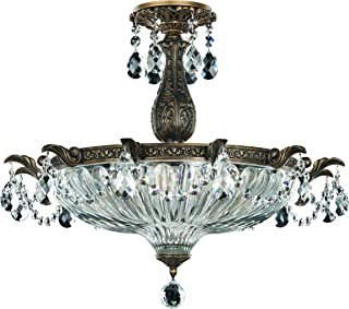 Schonbek 5650-83O Swarovski Lighting Milano Semi Flush Mount Lightening Fixture, Florentine Bronze