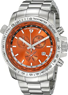 Men's 10013-66 World Timer Chronograph Orange Dial Stainless Steel Watch