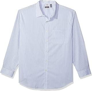 Men's Big and Tall Traveler Stretch Long Sleeve Button Down Blue/White/Purple Shirt