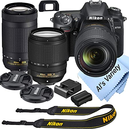 Nikon D7500 DSLR Camera Kit with 18-140mm VR + 70-300mm Zoom Lenses | Built-in Wi-Fi| 20.9 MP CMOS Sensor | EXPEED 5 Image Processor and Full HD 1080p | SnapBridge Bluetooth Connectivity