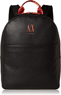 A|X Armani Exchange Men's AX Logo Backpack with Tophandle, Black/Orange, O/S