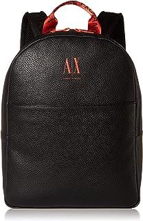 A|X Armani Exchange حقيبة ظهر رجالي بشعار AX مع Tophandle، أسود/برتقالي، O/S