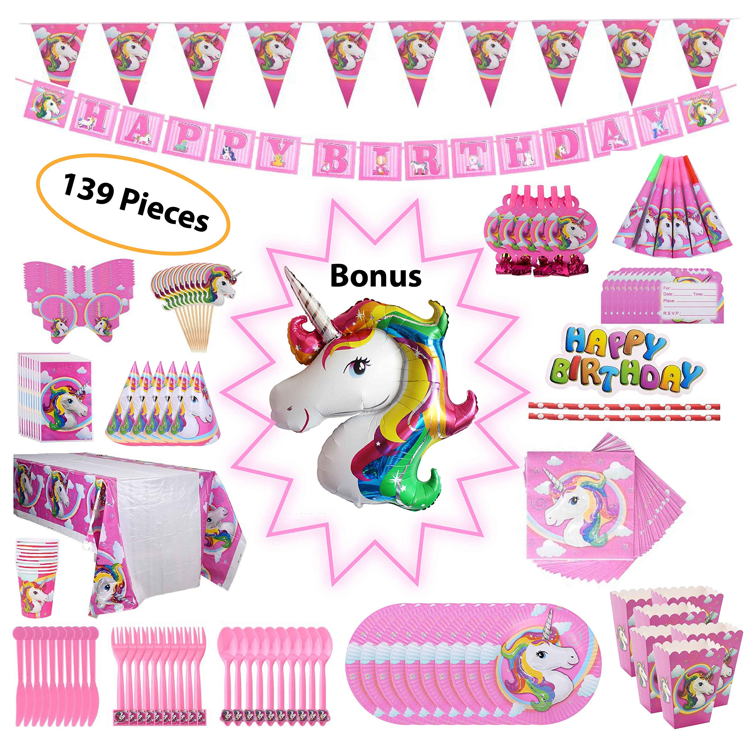 balloons ,door plates,tattoo stickers Unicorn Party Supplies 42 guests for girls with Birthday Banner Birthday Party Supplies Set Unicorn Cake Topper /& cupcake warappers