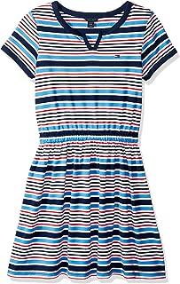 Tommy Hilfiger Big Girls' Short Sleeve Striped Dress, Flag Blue, 8/10
