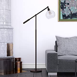 Led Globe Floor Lamp Black, Industrial Reading Light with Shade 61