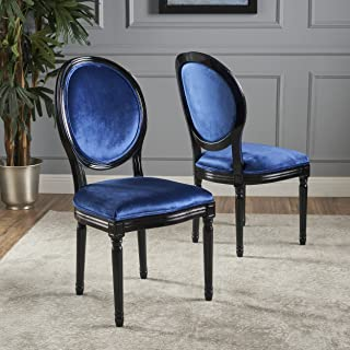 Christopher Knight Home Camille Dining Chair Set, Navy Blue/Gloss Black