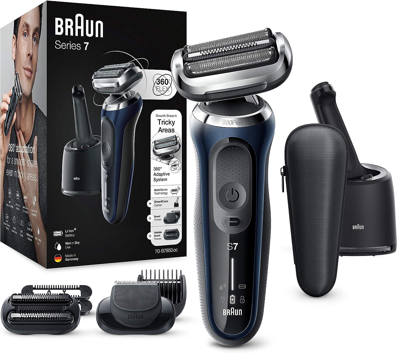 Braun Series 7 Afeitadora Eléctrica Hombre, Máquina de Afeitar Barba con Tecnología AutoSense, Uso en Seco y en Mojado, Centro de Limpieza, 2 Accesorios EasyClick, Inalámbrica, 70-B7850 CC, Azul