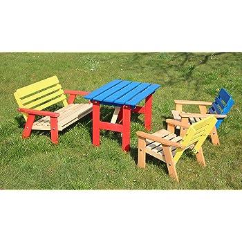 Enfants Salon De Jardin 4 Pieces En Bois 2 Chaises 1 Banc 1