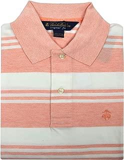 Men's Slim Fit Cotton Pique Performance Polo Shirt Pink Cream White Striped