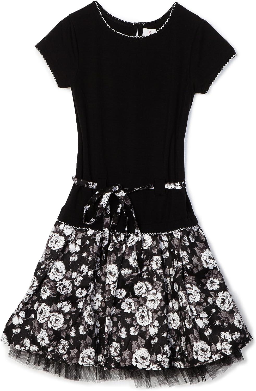 Sweet Heart Rose Big Girls' Short Sleeve Knit To Woven Dress