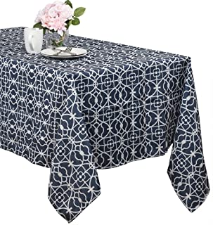Benson Mills Geo Indoor/outdoor Spillproof Tablecloth (blue, 52-inch by 70-inch)