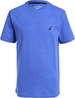 Nautica boys Short Sleeve Solid Heathered V-neck Tee Shirt