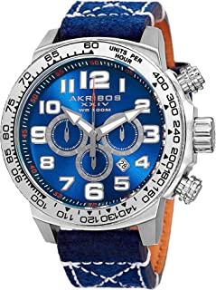 Akribos XXIV AK842 Trek Mens Casual Watch - Sunburst Effect Dial - Chronograph Quartz - Leather Strap