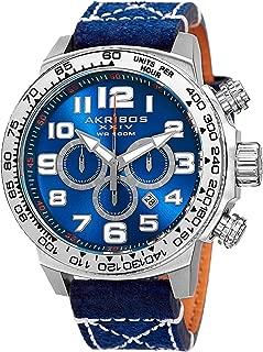 Akribos XXIV AK842 Trek Mens Casual Watch - Sunburst Effect Dial - Chronograph Quartz - Leather Strap