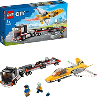 LEGO 60289 City Great Vehicles Airshow Jet Transporter Truck Toy with Trailer and Jet Aeroplane