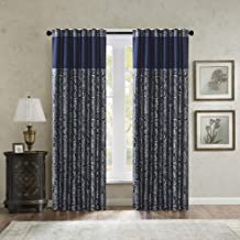 Madison Park Aubrey Faux Silk Paisley Jacquard, Rod Pocket Curtain with Privacy Lining..