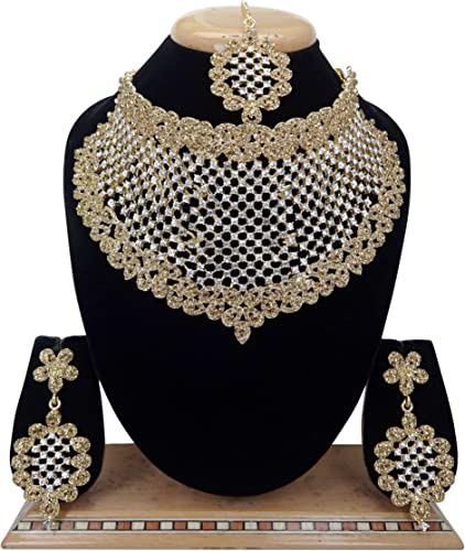 Austrian Diamond Gold Plated Metal Necklace Set for Women