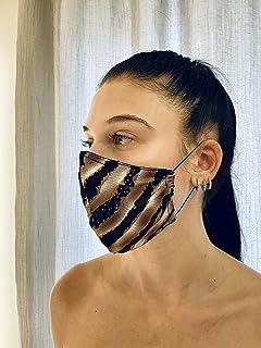 Mascherina Unisex Lavabile 100% cotone interno animalier strass