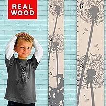 Growth Chart Art   Wooden Growth Chart Girls + Boys   Measuring Kids Height Wall Décor   Flower Growth Chart Ruler   Gray Dandelion Flower Height Chart